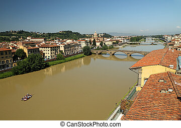 Aerial view of Arno river with bridges : Ponte alla Carraia...