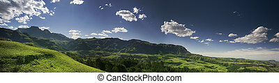 Drakensberg Panorama - A stitch of three shots in the...