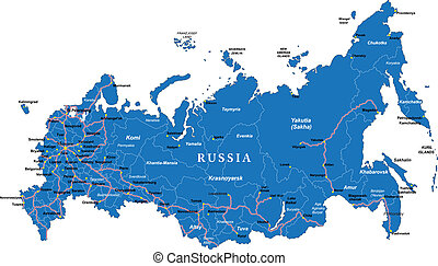 Russia Map - Highly detailed vector map of Russia with...