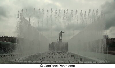 Fountain with the statue of Lenin