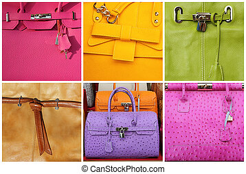 handbags collage - colorful fine leather purse collection