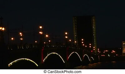 Diluted Troitsky bridge in St. Petersburg Night