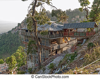 House on the hill, Dharamsala, in Himalaya mountains. India