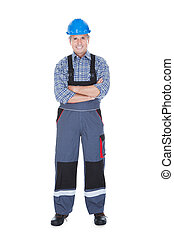 Portrait Of Male Worker Over White Background