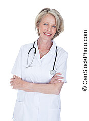 Portrait Of Happy Mature Female Doctor Isolated Over White...