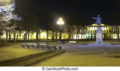 Square of Arts in St Petersburg Night