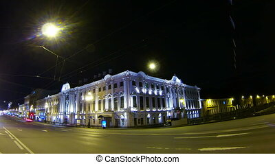 Old house on Nevsky Prospekt in St. Petersburg Night