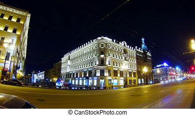 Old house on Nevsky Prospekt in St Petersburg Night - Old...