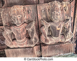 Old temple Chamunda Mata - Wood relief of the old temple...