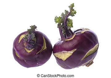 Purple Kohlrabies Isolated - Isolated macro image of purple...