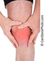 Man With Knee Pain On White Background