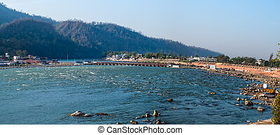 Holy Ganges river that flows through Rishikesh the world...