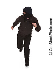 Bandit In Black Mask Running Away - Man Wearing Mask Running...