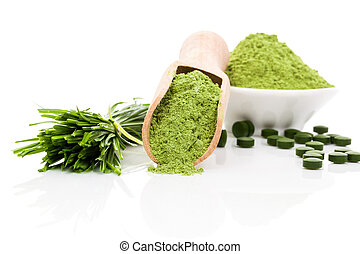 Healthy living. - Spirulina; chlorella and wheatgrass. Green...