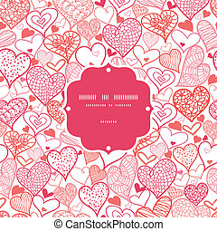 Romantic doodle hearts frame seamless pattern background -...