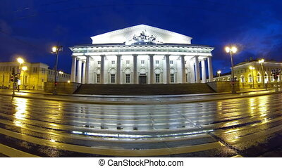 The building of the stock Exchange in St Petersburg Night -...