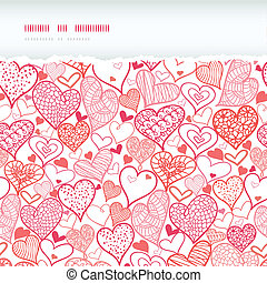 Romantic doodle hearts horizontal torn seamless pattern background