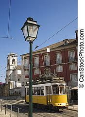 Trolley street scene. - Street scene with trolley in Lisbon,...