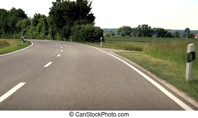 Driving in Germany on a road.