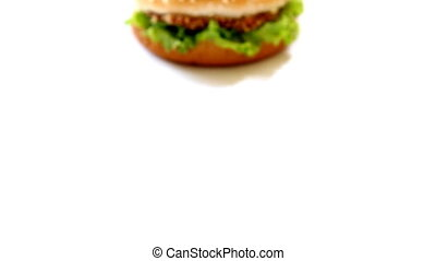 Close-up homemade burger on white background