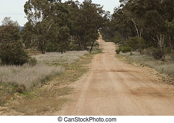transport - a quite country dirt road leading up a hill