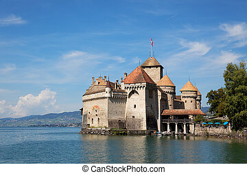 The Chillon Castle at Lake Geneva in Switzerland - The...