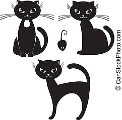 black cat - cartoon illustration of a black cat