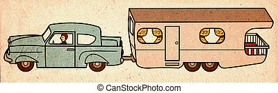 Vintage car with mobile home - Vintage car pulling a mobile...