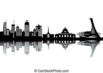 Montreal skyline - black and white vector illustration