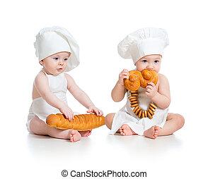 poco, panaderos, bebes, niño, niña, aislado