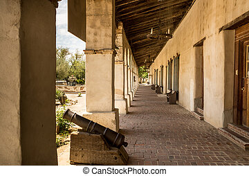 Spanish Mission Colonnade - Shaded colonnade at the historic...