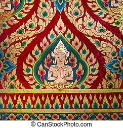 Painting of deva on wall in the temple.This is traditional and generic style in Thailand. No any trademark or restrict matter in this photo.