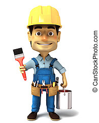 3d handyman with paint can - 3d render image series of...
