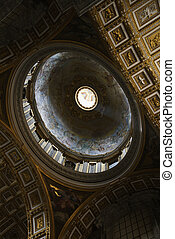St Peters Basilica - Interior of St Peters Basilica in Rome,...