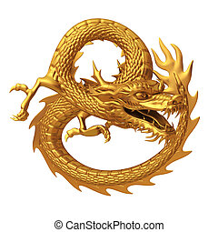 3d render golden Chinese dragon - Series of Golden Chinese...