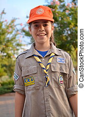 Israel Girl Scout on the way to summer camp - A happy Israel...