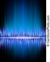 Sound waves oscillating on black EPS 8 - Sound waves...