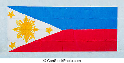 Painting flag of philippine on wall