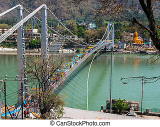 Bridge on the Holy Ganges river that flows through Rishikesh...