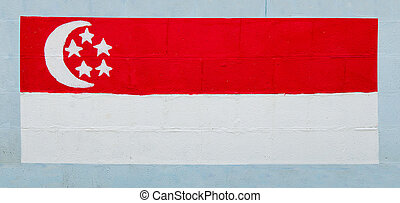 Painting flag of   singapore on wall
