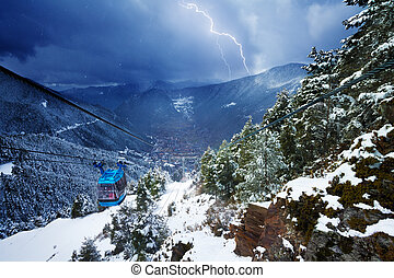 Cable car and lighting storm - Encamp town in Andorra and...