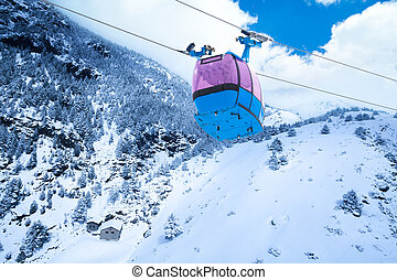 Ski lift cable car - Closeup of cable car for lifting skiers...
