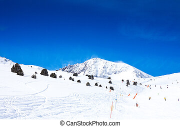 Slope for skiing in mountains