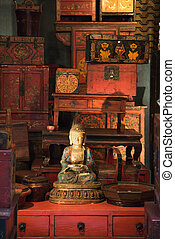 Buddha statue - Buddha statue in antique store
