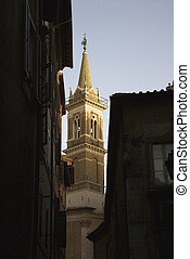 Church steeple. - Church steeple and buildings in Rome,...