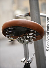 Bike seat. - Close-up of bike seat in Rome, Italy.