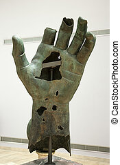 Colossal hand statue. - Colossal hand of Constantine in...
