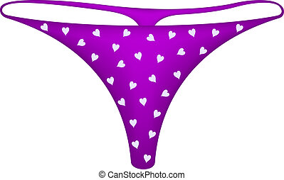 Womens panties in purple design with hearts symbols on white...