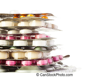 Close-up of packages of color drugs