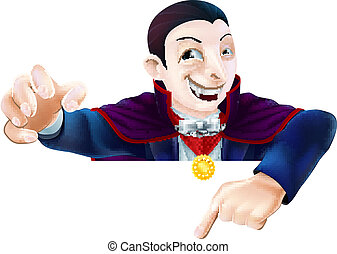 Halloween Cartoon Dracula Pointing - An illustration of a...